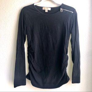 Michael Kors Black Rouched Shoulder Zipper Top